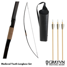 Load image into Gallery viewer, Medieval Youth Longbow plus Quiver and Arrows