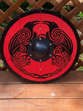 "Load image into Gallery viewer, Double Raven Viking Shield - 24"" Hand painted Viking Medieval Shield"