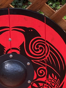 "Double Raven Viking Shield - 24"" Hand painted Viking Medieval Shield"