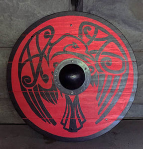 "Raven Viking Shield - Large 30"" Hand painted"