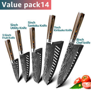 Stainless Steel Kitchen Knives Set 7CR17 Japanese Style Chef Knife Bread Meat Cleaver Paring Kitchen Knife Kitchen Accessories