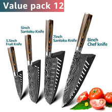 Load image into Gallery viewer, Stainless Steel Kitchen Knives Set 7CR17 Japanese Style Chef Knife Bread Meat Cleaver Paring Kitchen Knife Kitchen Accessories