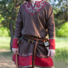 Load image into Gallery viewer, Men Retro Medieval Pirate or Viking Tunic Long Sleeve Loose Blouse Tops