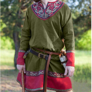 Men Retro Medieval Pirate or Viking Tunic Long Sleeve Loose Blouse Tops