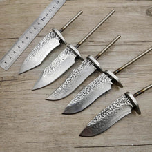 Load image into Gallery viewer, DIY VG10 Damascus steel forging pattern steel straight knife fixed blade billet diy semi - finished knife blanks steel