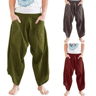 Adult Men Medieval Knights Renaissance Loose Harem Pants Viking Pirate Pocket Trouser Horseman Halloween