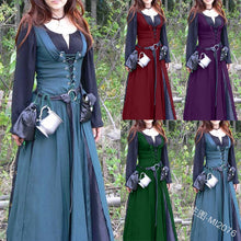 Load image into Gallery viewer, Classic Vintage Retro Belted Medieval Dress Mediaeval Renaissance Long Sleeve Floor Length Lace Up Women Retro Tunic