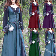 Classic Vintage Retro Belted Medieval Dress Mediaeval Renaissance Long Sleeve Floor Length Lace Up Women Retro Tunic