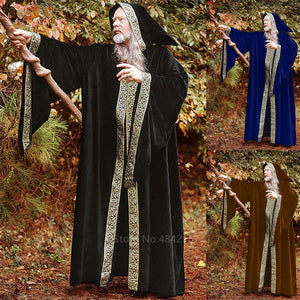 Middle Ages Wizard Cosplay Costumes for Adult Men Halloween Carnival Monk Vintage Medieval Stage Performance Long Robes