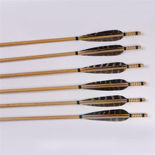 Load image into Gallery viewer, Wooden arrows, steel forked tail broad heads, set of 6 arrows