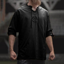 Load image into Gallery viewer, 2020 New Unique Design Vintage Style Men Plus Size Ancient Viking Embroidery Lace Up V Neck Long Sleeve T-Shirt Top trendy