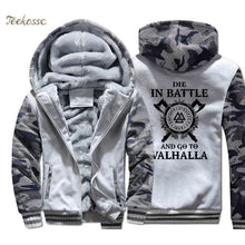 Load image into Gallery viewer, Odin Viking Hoodie, Men's, Die In Battle And Go To Valhalla Hooded Sweatshirt Coat Winter Warm Fleece