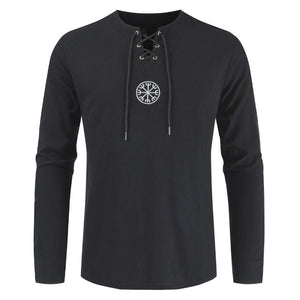 2020 New Unique Design Vintage Style Men Plus Size Ancient Viking Embroidery Lace Up V Neck Long Sleeve T-Shirt Top trendy