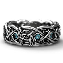 Load image into Gallery viewer, Celtic Wolf Zircon Ring, Wolf Totem 925 Silver Dyed Black Ring Vintage Stone