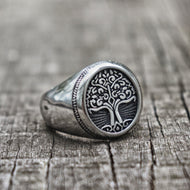 Tree of Life Signet Ring, Stainless Steel, Classic Men Celtic, Irish, Viking Ring