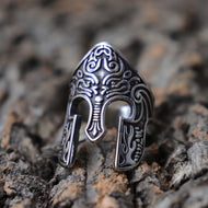 Viking Warrior Helmet Ring, Scandinavian Pagan Norse Rune Stainless Steel Rings