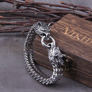 Never Fade Rock Viking Wolf Charm Bracelet, Men's Stainless Steel Mesh Chain, Gold Wolf Bracelet