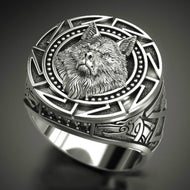 Men's 925 Vintage Wolf Totem Thai Silver Ring, Nordic Mythology, Viking Warrior Wolf Head, Men's Ring