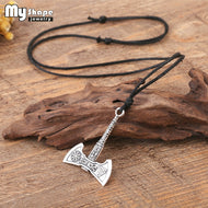 The Fehu Feoh Fe Rune Axe Amulet compass Viking runes Axe pendant Scandinavian Necklace