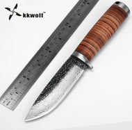 KKWOLF Fixed blade Hunting Knife Handmade forged Damascus Steel camping knife 58HRC leather handle