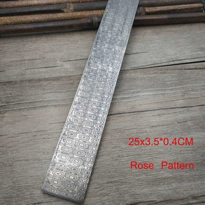 VG10 High Hardness Rose Sandwich Pattern Damascus Steel  Raw Material DIY Blade Blank Knife Customizable Steel Strip