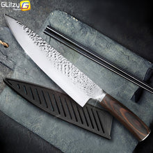 Load image into Gallery viewer, Kitchen Knife 8 inch Professional Japanese Chef Knives 7CR17 440C High Carbon Stainless Steel Meat Cleaver Slicer Santoku Knife
