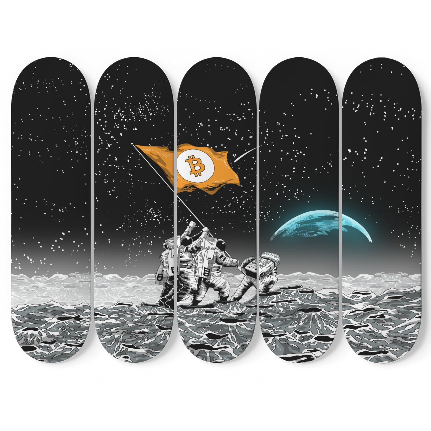 Bitcoin to the Moon Skateboard Wall Art