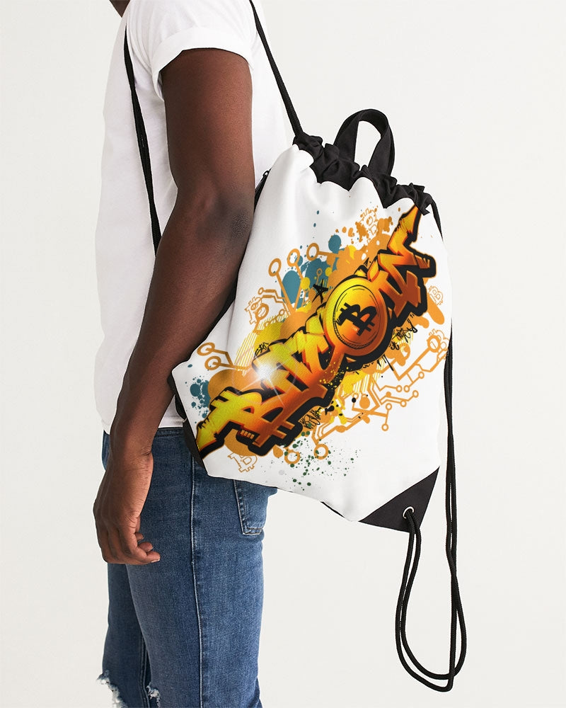 Bitcoin Grafiti Canvas Drawstring Bag