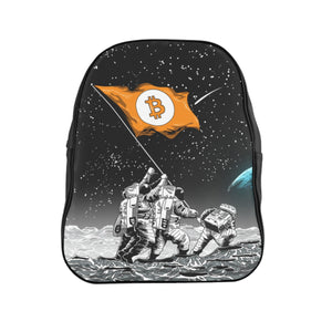 Bitcoin to the Moon Leather School Backpack