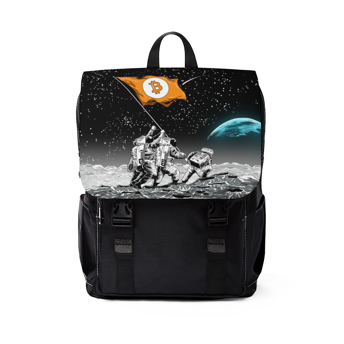 Bitcoin to the Moon Unisex Casual Shoulder Backpack