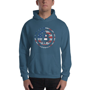 Digital Bitcoin American Flag Men's Hooded Sweatshirt