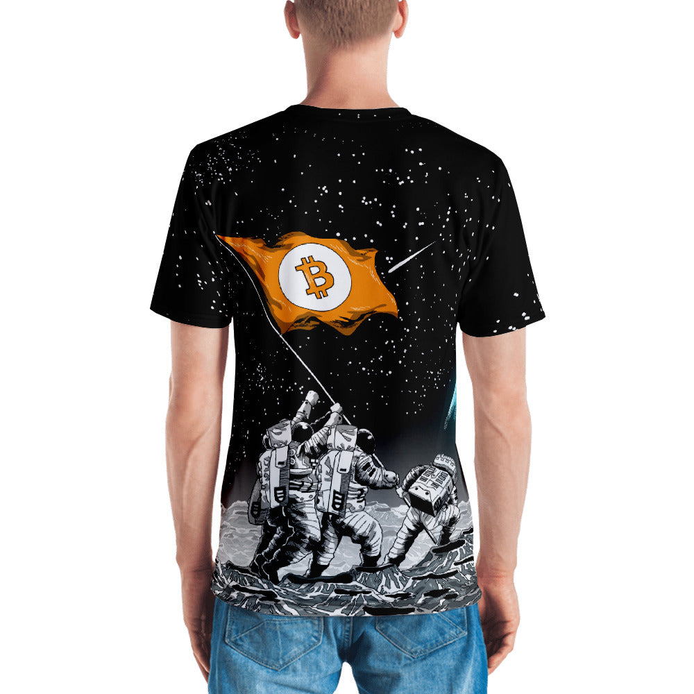 Bitcoin to the Moon! All Over Print Short sleeve Unisex T-shirt