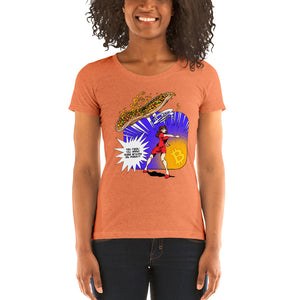 Bitcoin Pizza Pop Art Ladies' Fitted short sleeve t-shirt