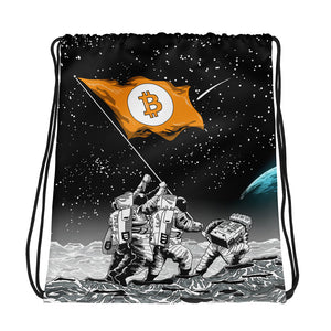 Bitcoin to the Moon Drawstring bag