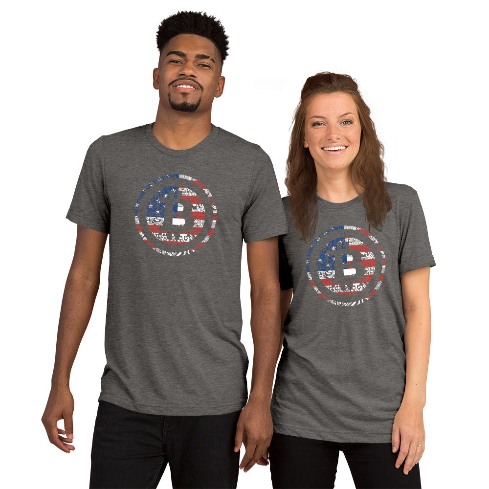 Digital Bitcoin American Flag Unisex Short sleeve t-shirt