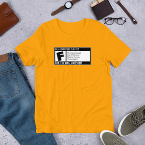 DCA Adventure is Rated F Short-Sleeve Unisex T-Shirt