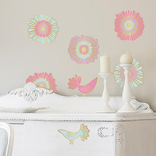 Golden Flower Birds Wall Decal
