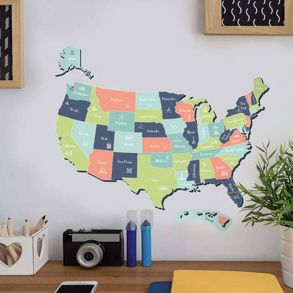 USA Map Wall Decal