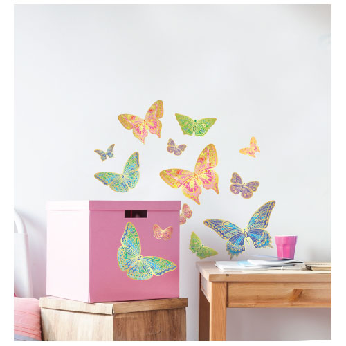 Golden Butterflies Wall Decal