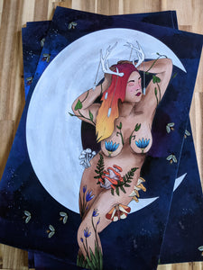 Moon Mama PREMIUM Print 11x17in with Gold Foil Details
