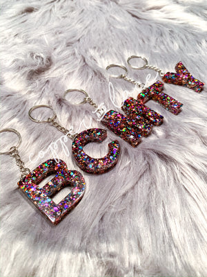 Single Letter Glitter Keychain