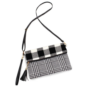 Plaid Fold Over Cross Body