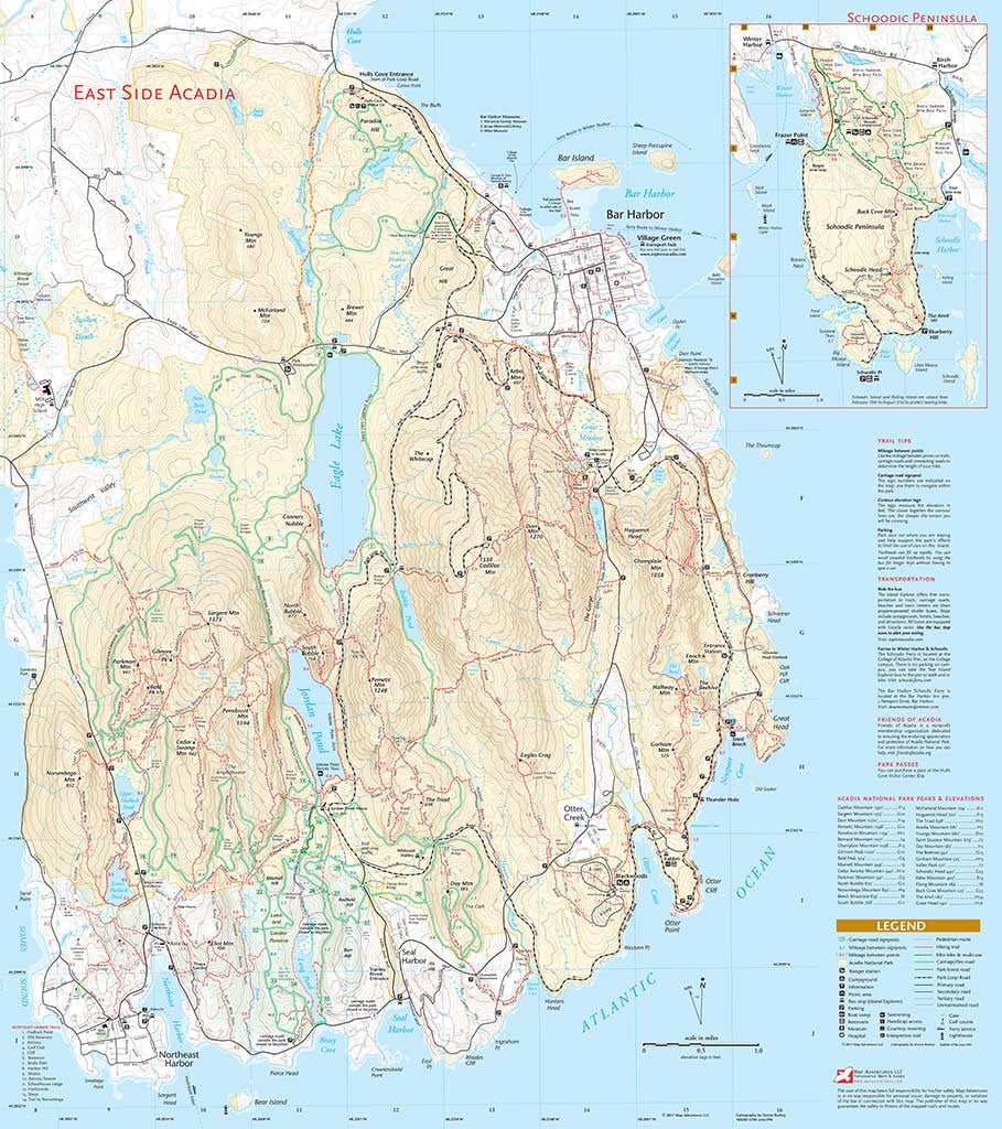 Acadia national park map adventures for Portland maine bike trails