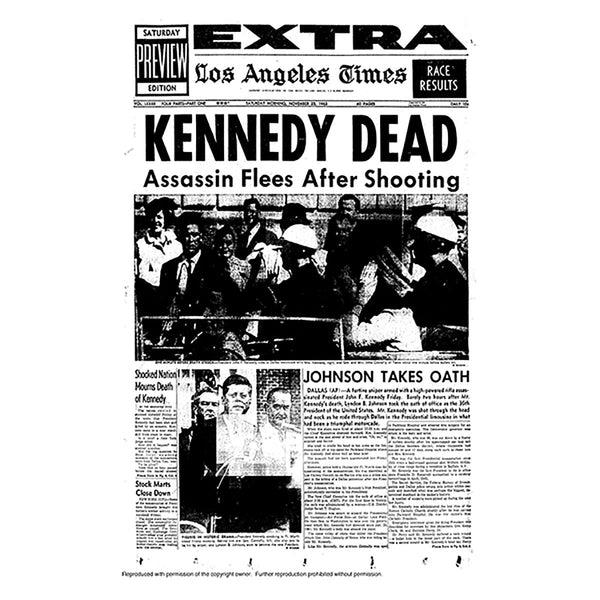 Historical Front Page - Kennedy Dead