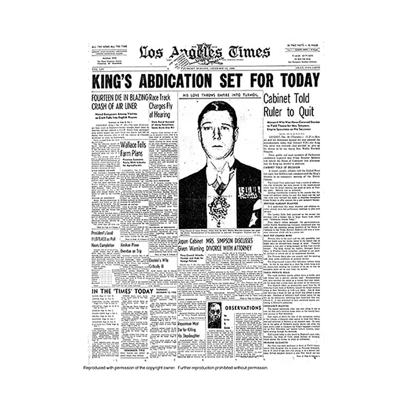 Historical Front Page - Kings Abdication