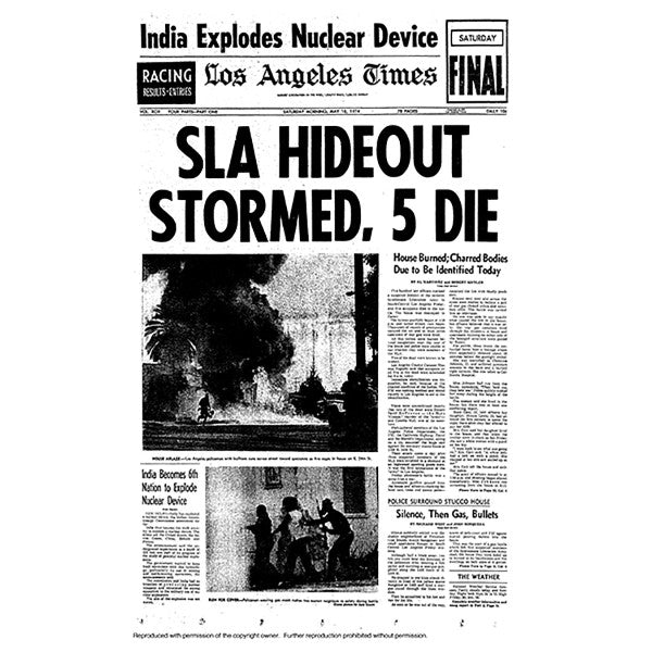 Historical Front Page - SLA Hideout Stormed