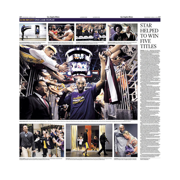 Kobe Bryant Last Game Commemorative Sports Page
