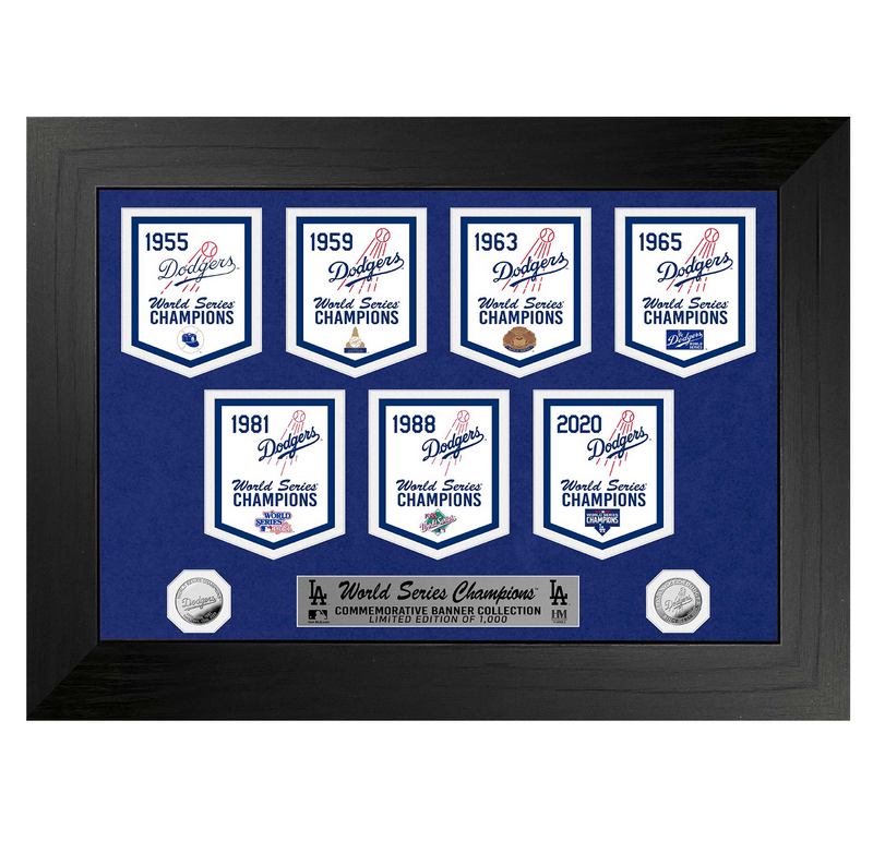Dodgers Commemorative Champs Banners - Silver Coin Photo Mint