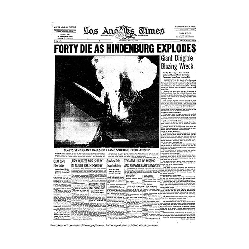 Historical Front Page - Hindenburg Explodes