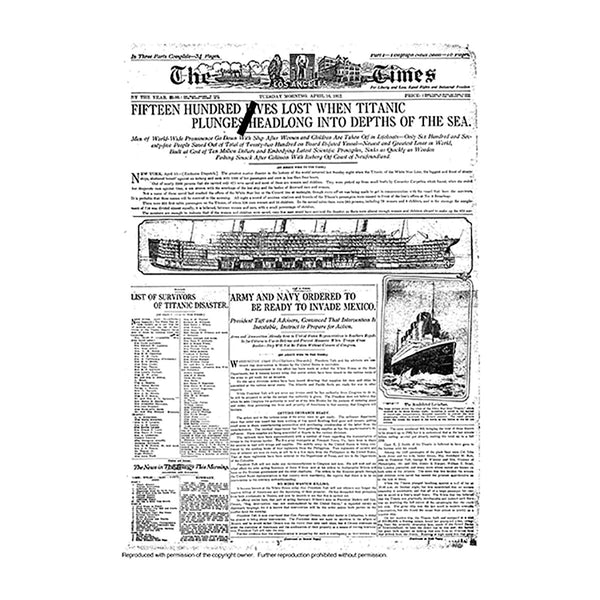 Historical Front Page - Titanic